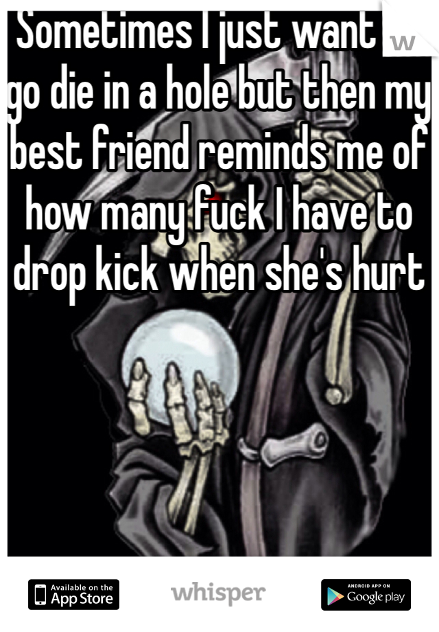 Sometimes I just want to go die in a hole but then my best friend reminds me of how many fuck I have to drop kick when she's hurt