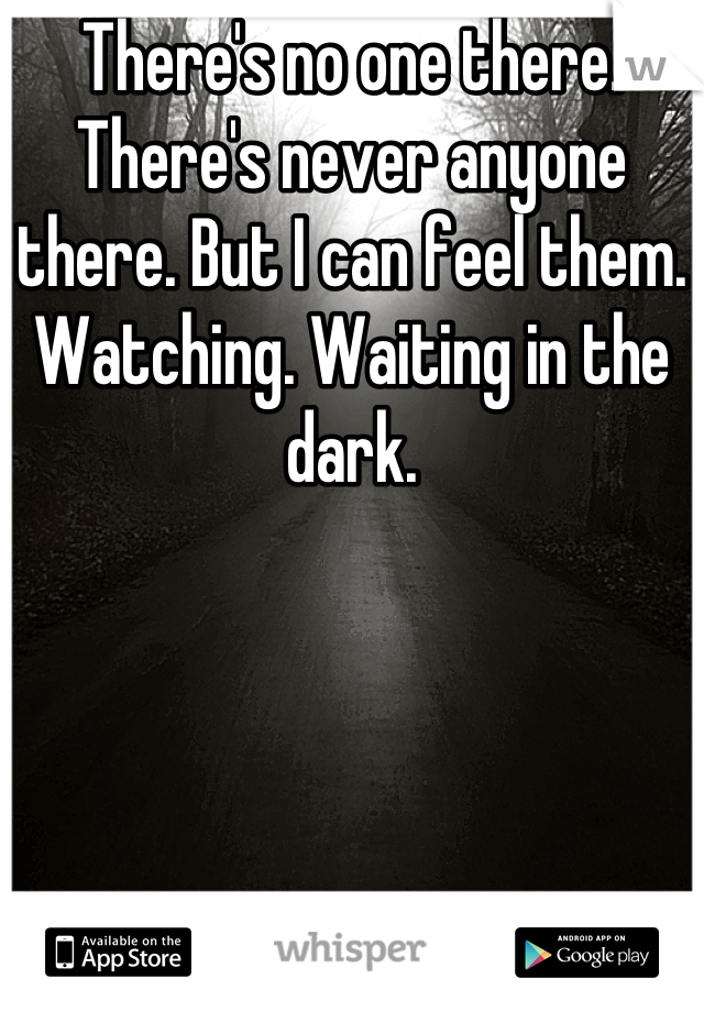There's no one there. There's never anyone there. But I can feel them. Watching. Waiting in the dark.