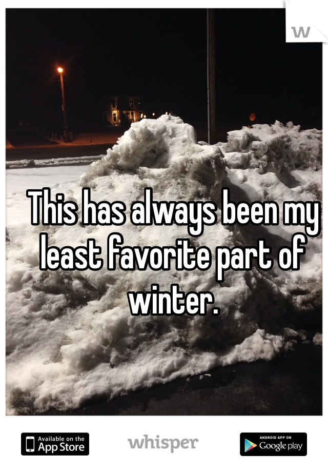 This has always been my least favorite part of winter.