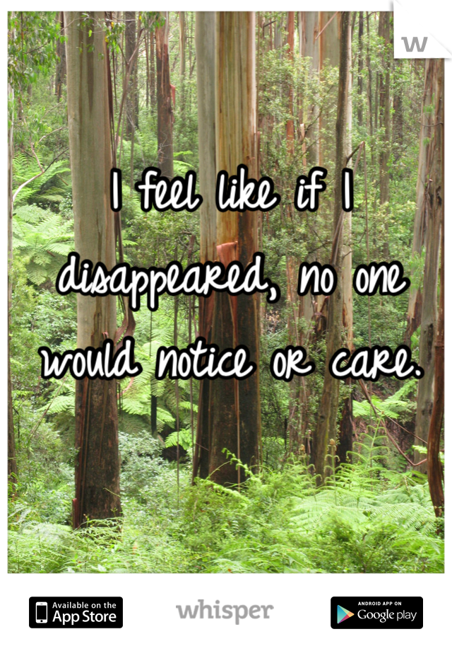 I feel like if I disappeared, no one would notice or care.