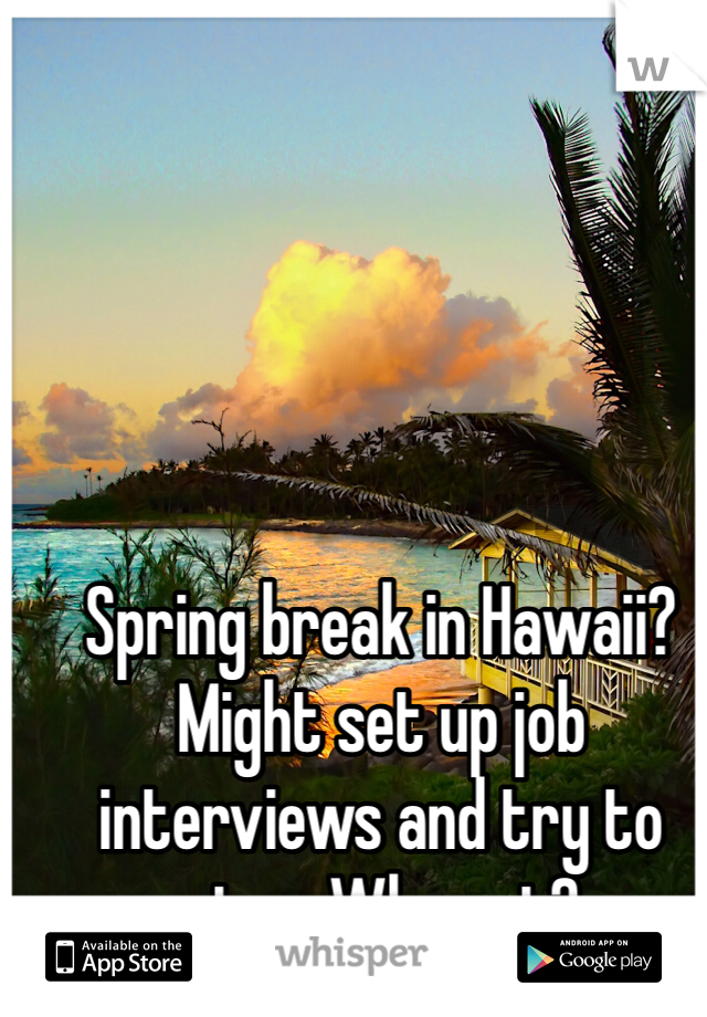 Spring break in Hawaii? Might set up job interviews and try to stay. Why not?
