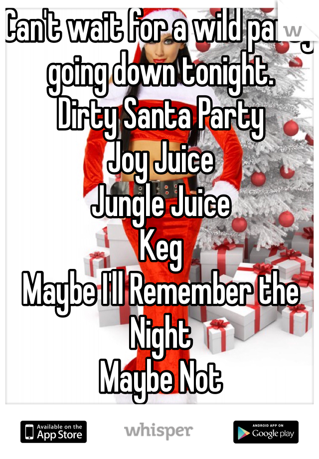 Can't wait for a wild party going down tonight.  Dirty Santa Party Joy Juice Jungle Juice Keg Maybe I'll Remember the Night  Maybe Not