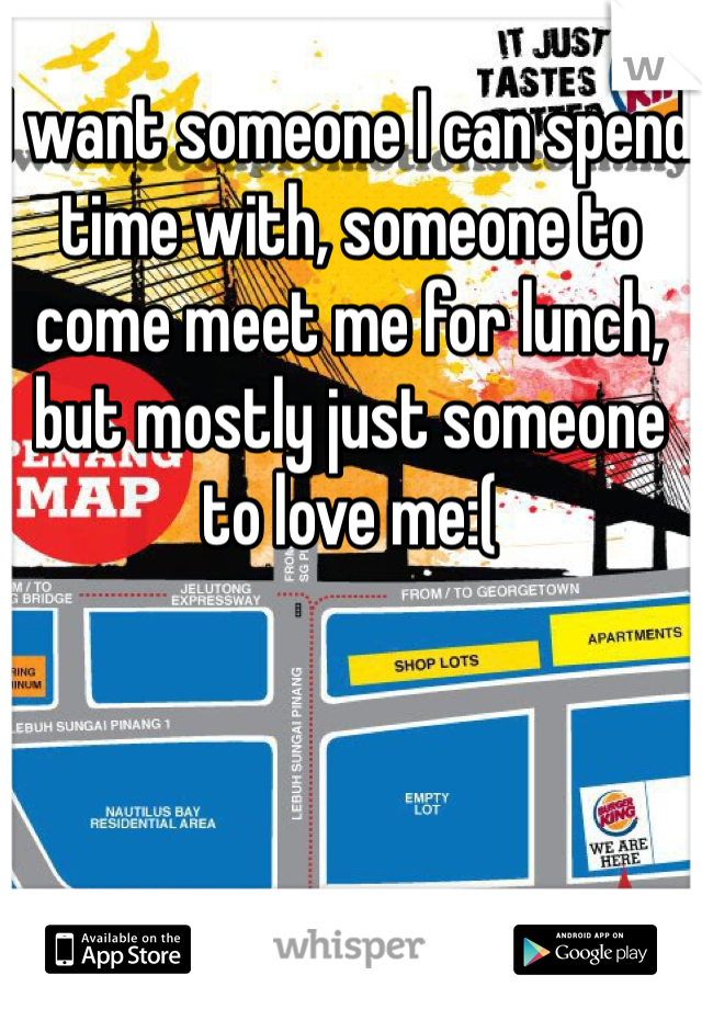 I want someone I can spend time with, someone to come meet me for lunch, but mostly just someone to love me:(