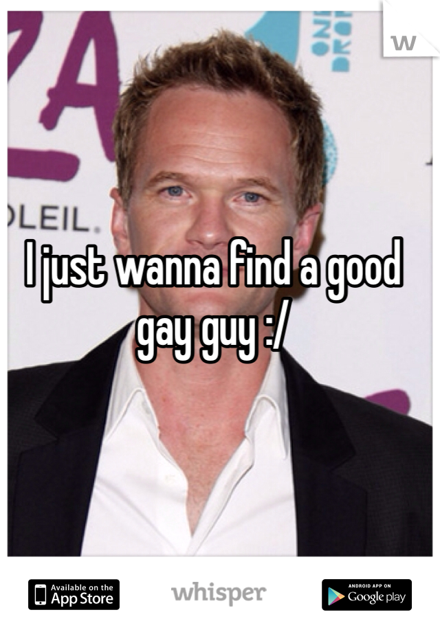 I just wanna find a good gay guy :/