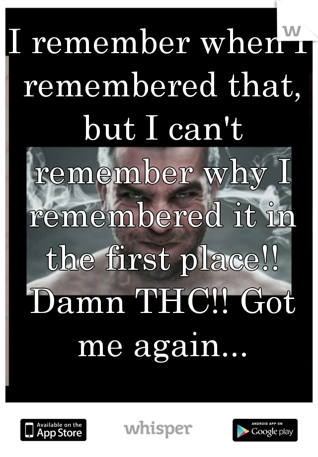 I remember when I remembered that, but I can't remember why I remembered it in the first place!! Damn THC!! Got me again...