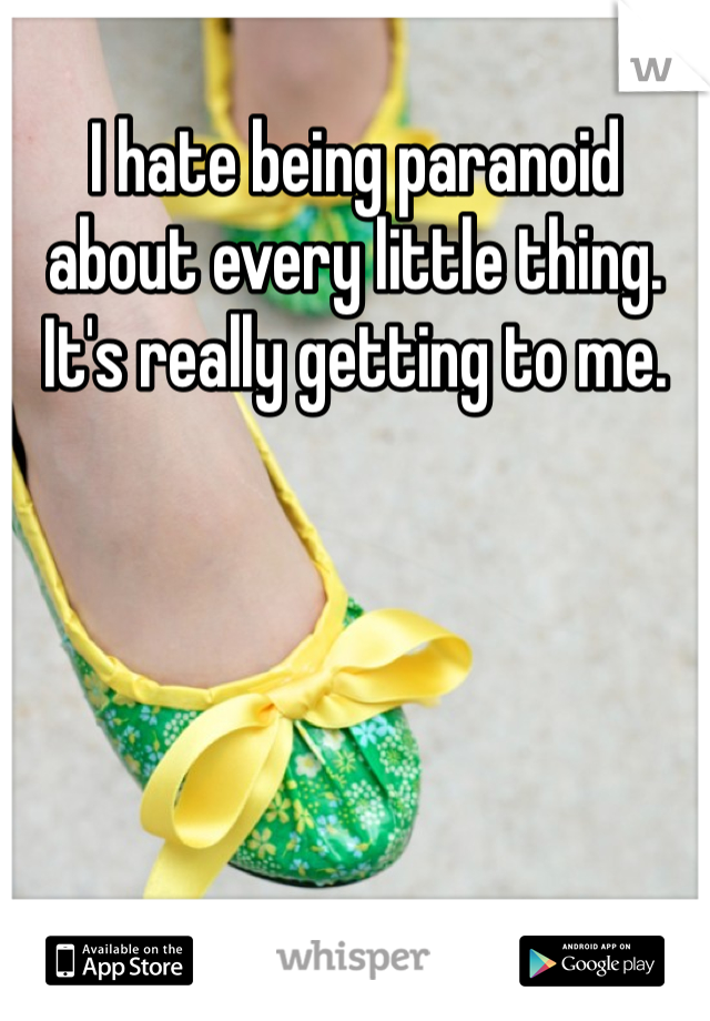 I hate being paranoid about every little thing. It's really getting to me.