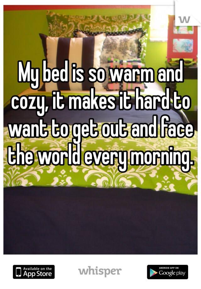 My bed is so warm and cozy, it makes it hard to want to get out and face the world every morning.