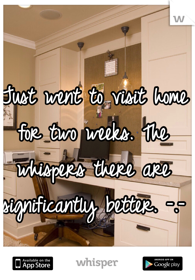 Just went to visit home for two weeks. The whispers there are significantly better. -.-