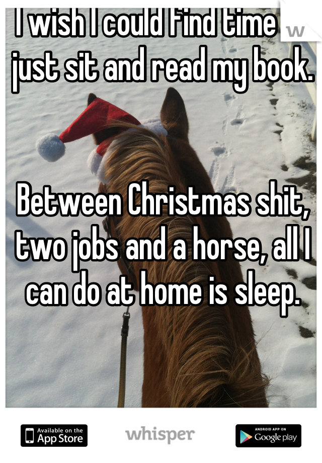 I wish I could find time to just sit and read my book.    Between Christmas shit, two jobs and a horse, all I can do at home is sleep.