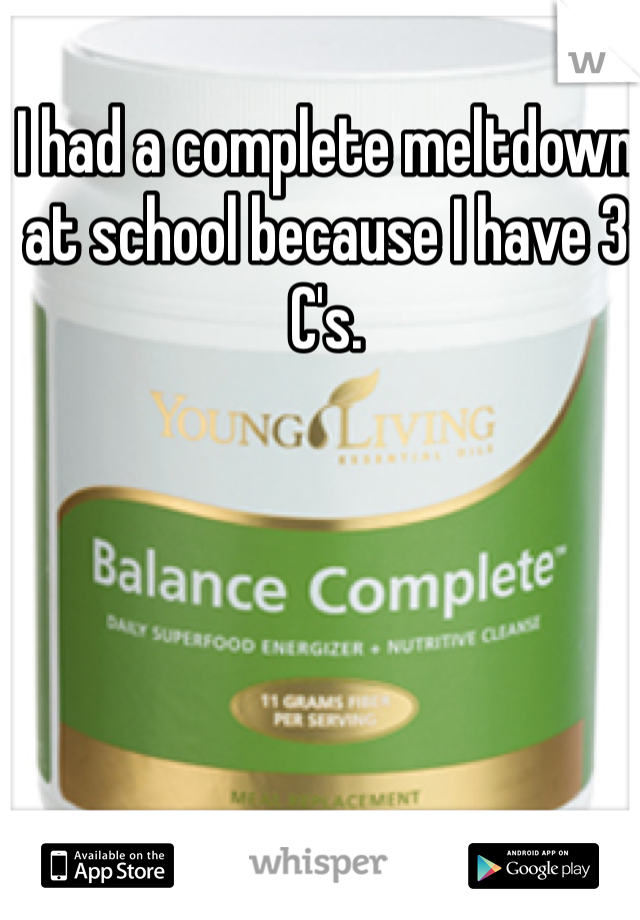 I had a complete meltdown at school because I have 3 C's.