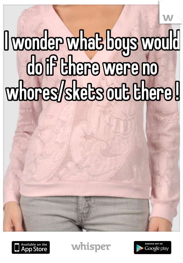 I wonder what boys would do if there were no whores/skets out there !