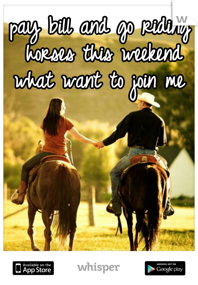 pay bill and go riding horses this weekend what want to join me