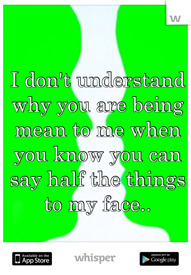 I don't understand why you are being mean to me when you know you can say half the things to my face..