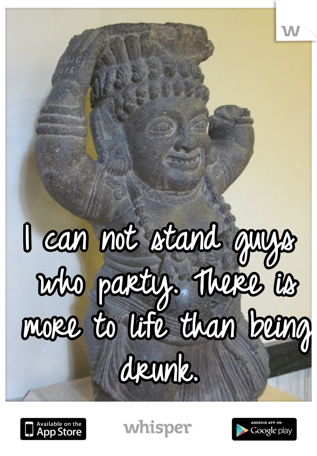I can not stand guys who party. There is more to life than being drunk.