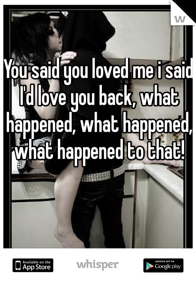 You said you loved me i said I'd love you back, what happened, what happened, what happened to that!