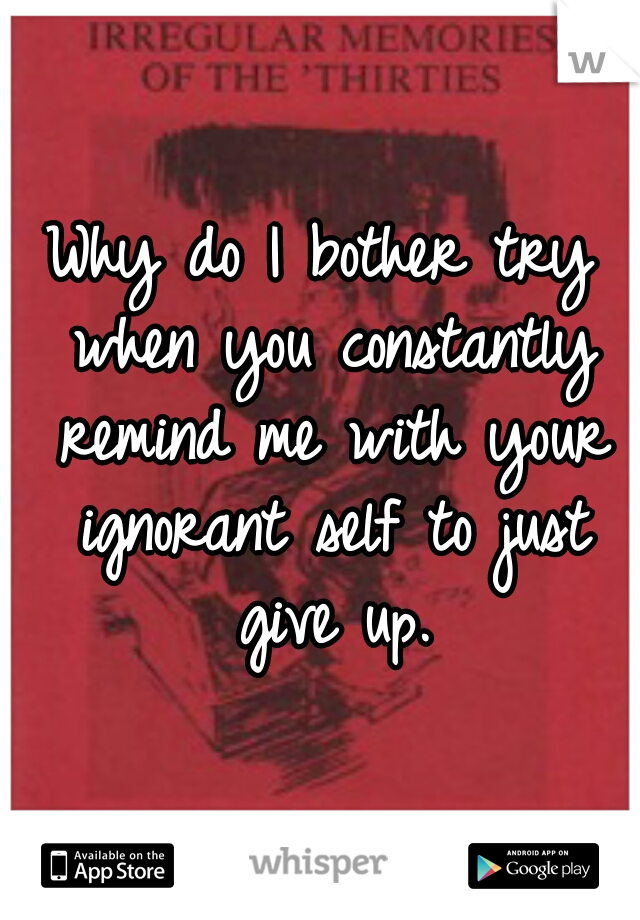 Why do I bother try when you constantly remind me with your ignorant self to just give up.