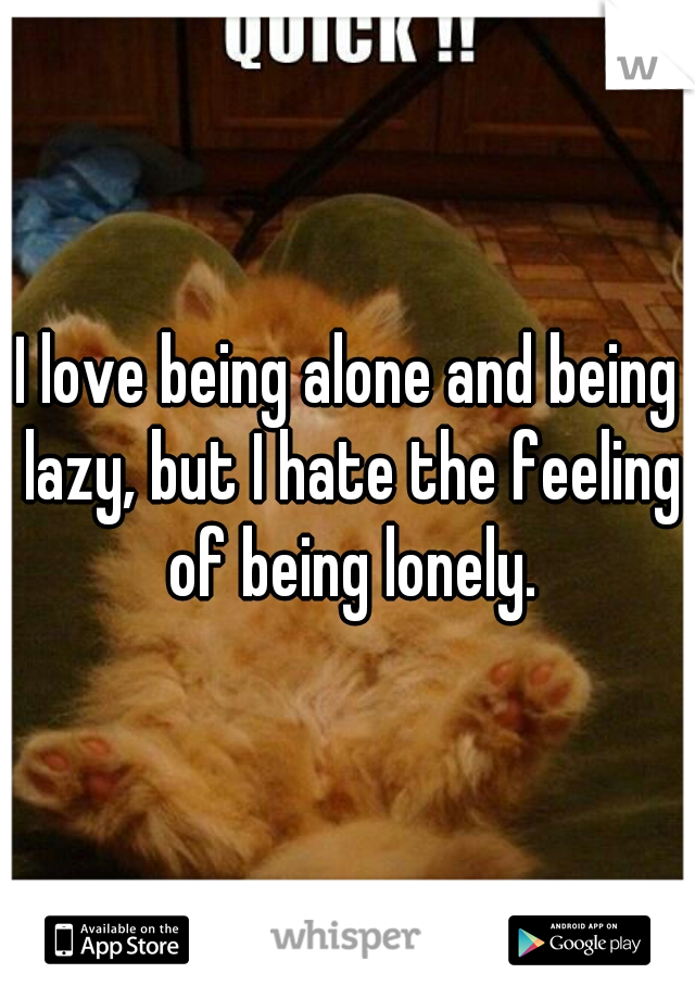 I love being alone and being lazy, but I hate the feeling of being lonely.