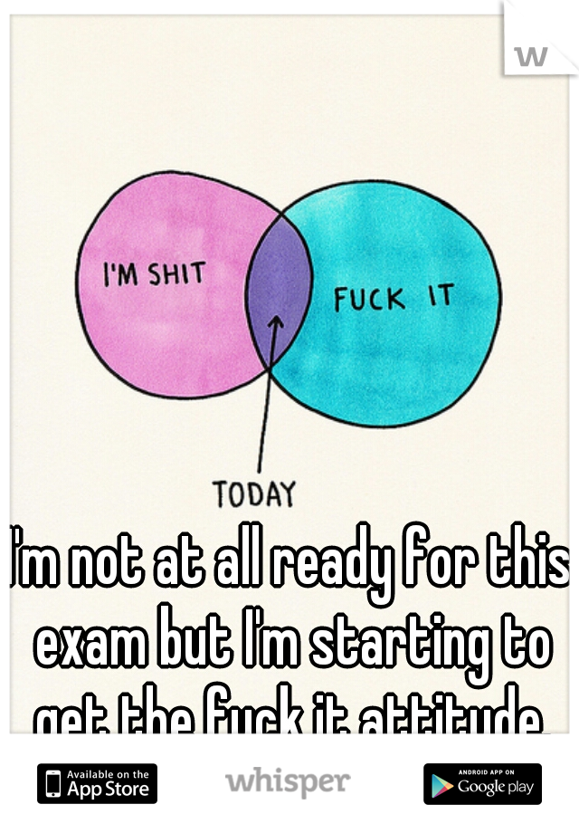 I'm not at all ready for this exam but I'm starting to get the fuck it attitude.
