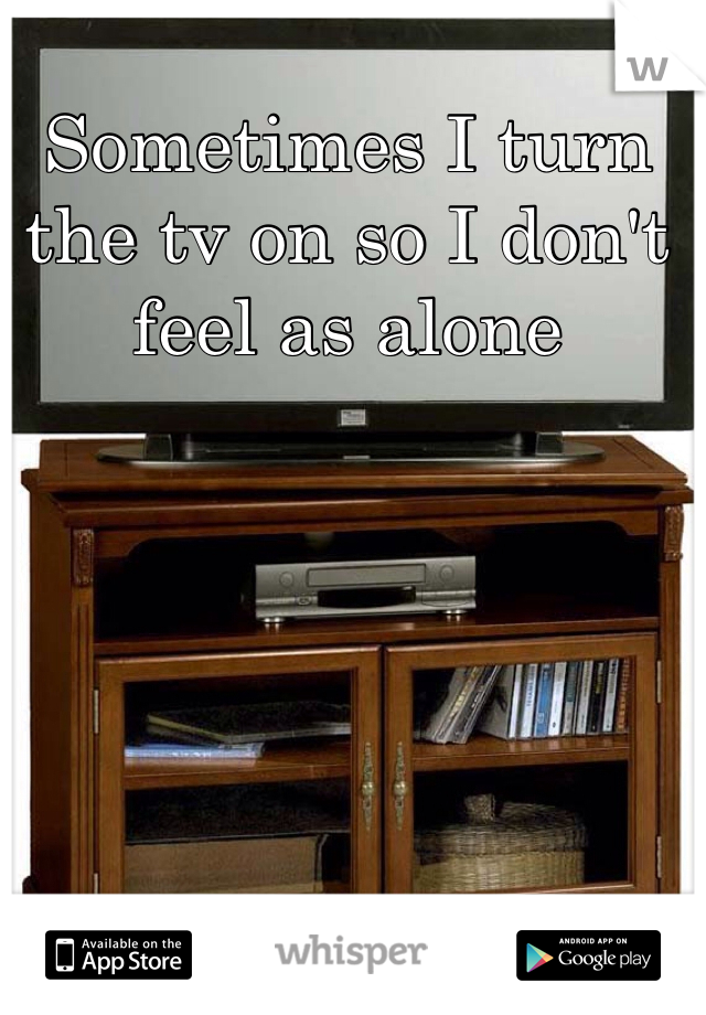 Sometimes I turn the tv on so I don't feel as alone