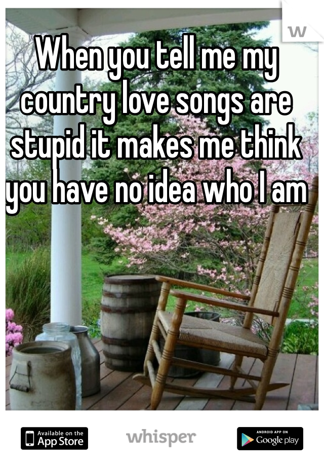 When you tell me my country love songs are stupid it makes me think you have no idea who I am