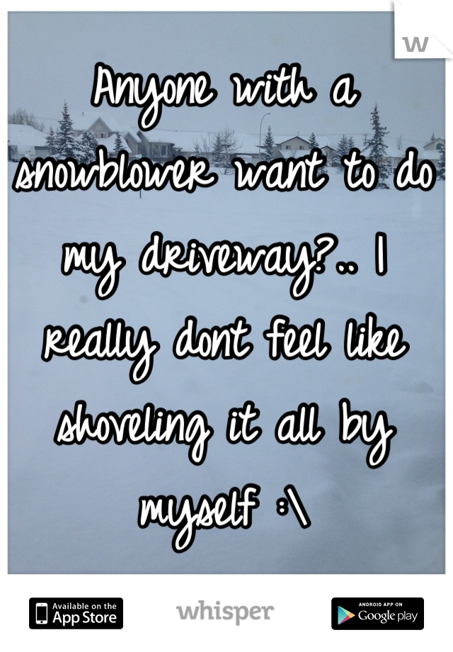 Anyone with a snowblower want to do my driveway?.. I really dont feel like shoveling it all by myself :\