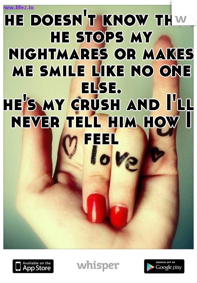 he doesn't know that he stops my nightmares or makes me smile like no one else. he's my crush and I'll never tell him how I feel