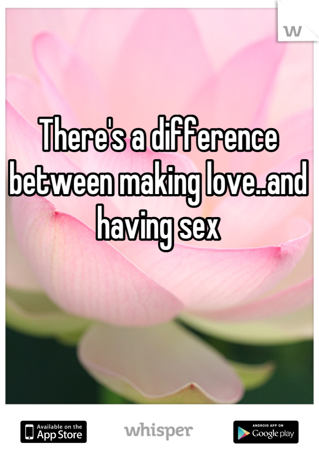 There's a difference between making love..and having sex