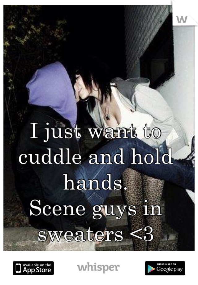 I just want to cuddle and hold hands.  Scene guys in sweaters <3