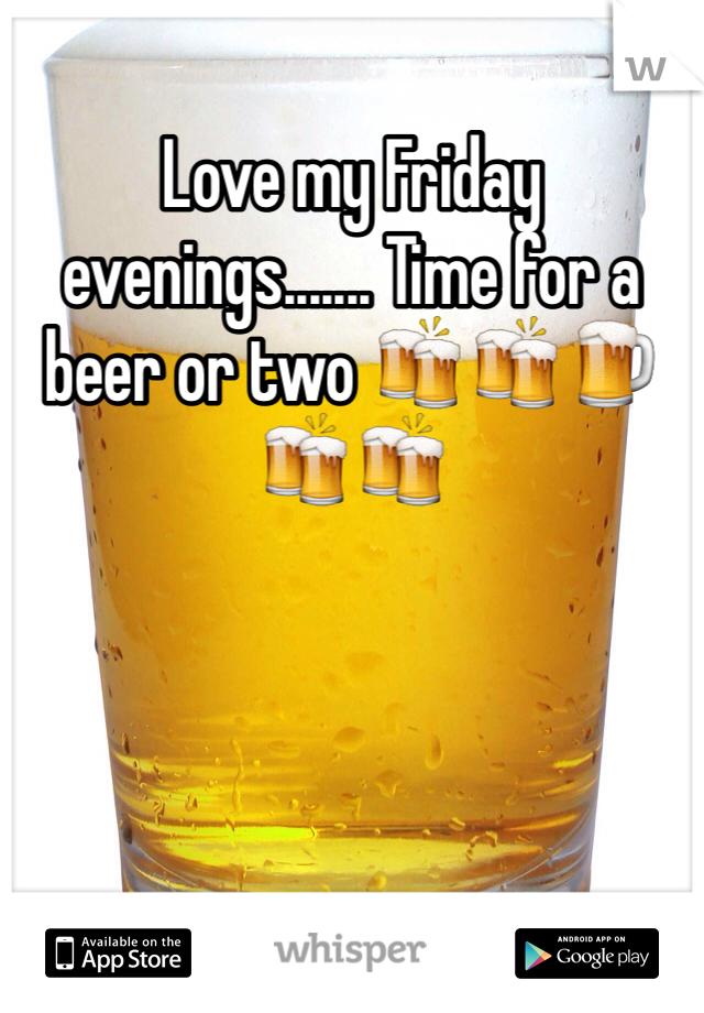 Love my Friday evenings....... Time for a beer or two 🍻🍻🍺🍻🍻