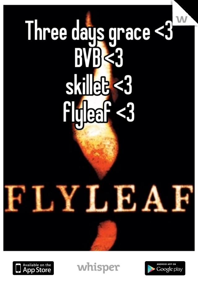 Three days grace <3 BVB <3 skillet <3  flyleaf <3