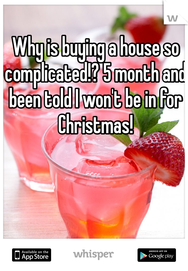 Why is buying a house so complicated!? 5 month and been told I won't be in for Christmas!