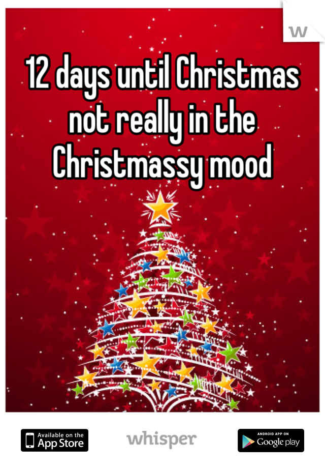12 days until Christmas not really in the Christmassy mood