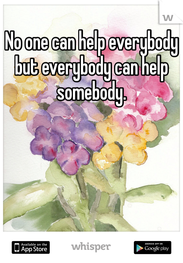 No one can help everybody but everybody can help somebody.