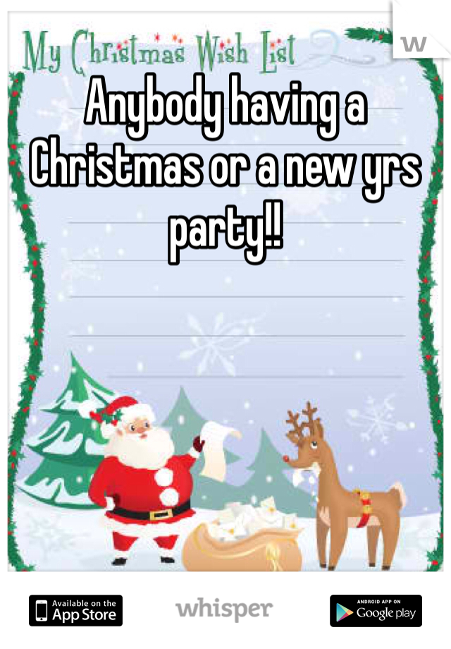 Anybody having a Christmas or a new yrs party!!