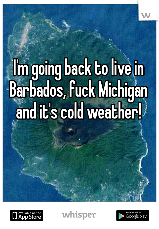 I'm going back to live in Barbados, fuck Michigan and it's cold weather!