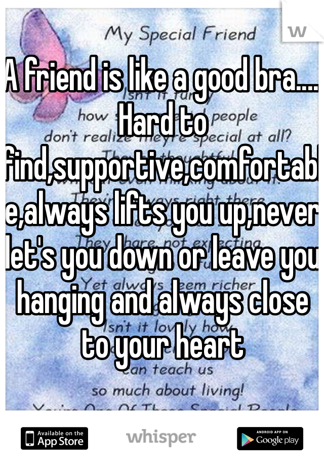 A friend is like a good bra..... Hard to find,supportive,comfortable,always lifts you up,never let's you down or leave you hanging and always close to your heart