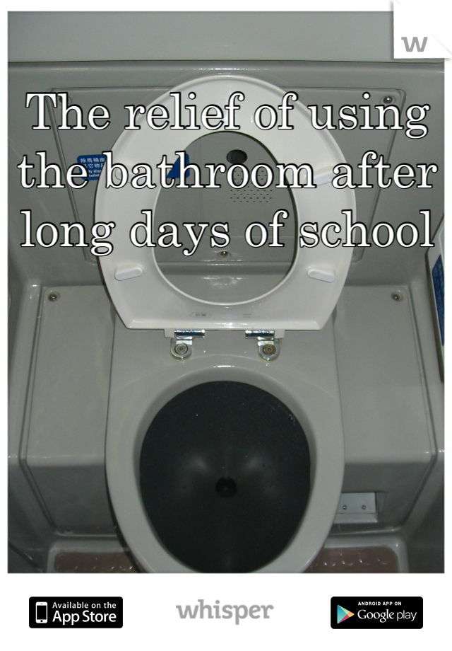 The relief of using the bathroom after long days of school