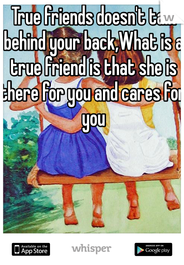 True friends doesn't talk behind your back,What is a true friend is that she is there for you and cares for you