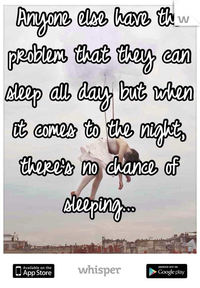 Anyone else have the problem that they can sleep all day but when it comes to the night, there's no chance of sleeping...