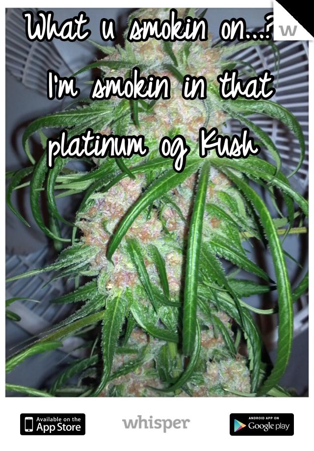 What u smokin on...?  I'm smokin in that platinum og Kush