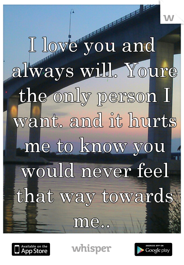 I love you and always will. Youre the only person I want. and it hurts me to know you would never feel that way towards me..
