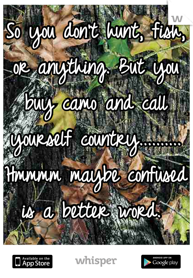 So you don't hunt, fish, or anything. But you buy camo and call yourself country.......... Hmmmm maybe confused is a better word.