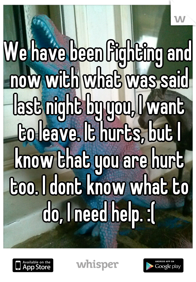 We have been fighting and now with what was said last night by you, I want to leave. It hurts, but I know that you are hurt too. I dont know what to do, I need help. :(