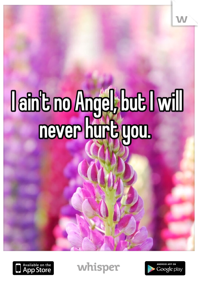 I ain't no Angel, but I will never hurt you.