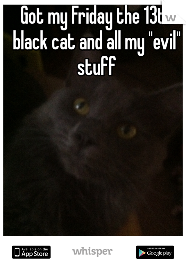 """Got my Friday the 13th black cat and all my """"evil"""" stuff"""
