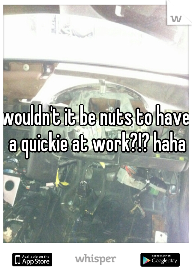 wouldn't it be nuts to have a quickie at work?!? haha
