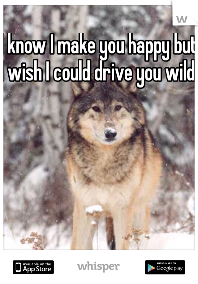 I know I make you happy but I wish I could drive you wild.