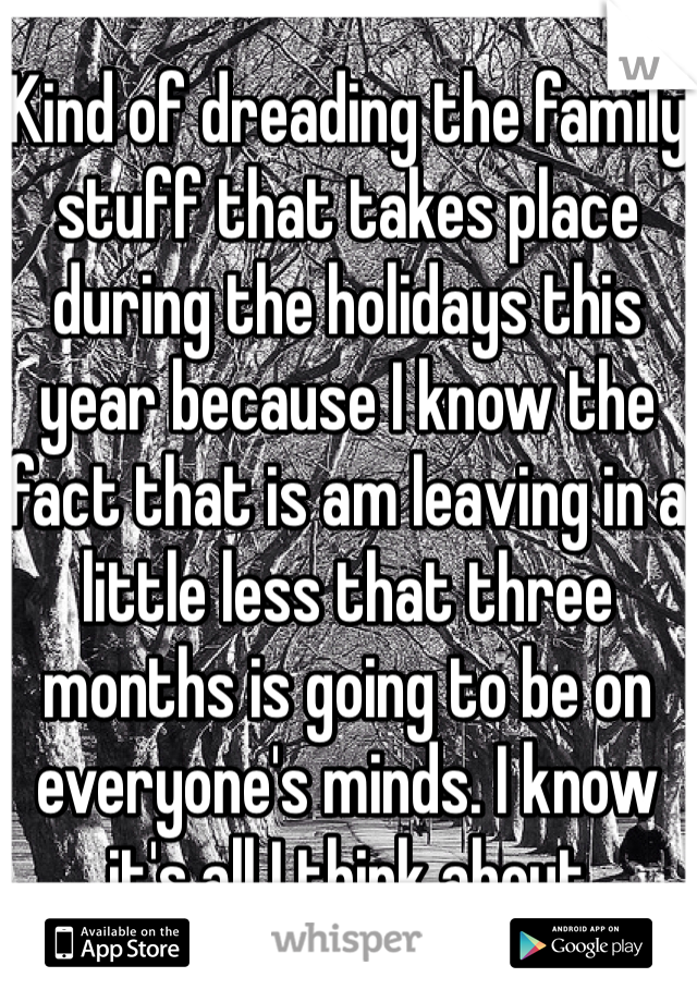 Kind of dreading the family stuff that takes place during the holidays this year because I know the fact that is am leaving in a little less that three months is going to be on everyone's minds. I know it's all I think about