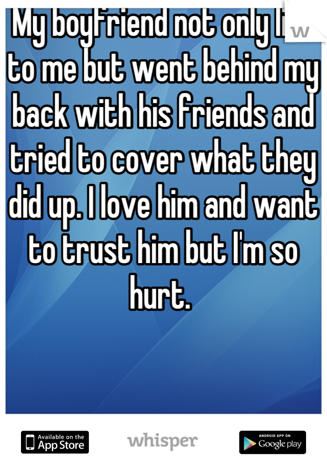 My boyfriend not only lied to me but went behind my back with his friends and tried to cover what they did up. I love him and want to trust him but I'm so hurt.