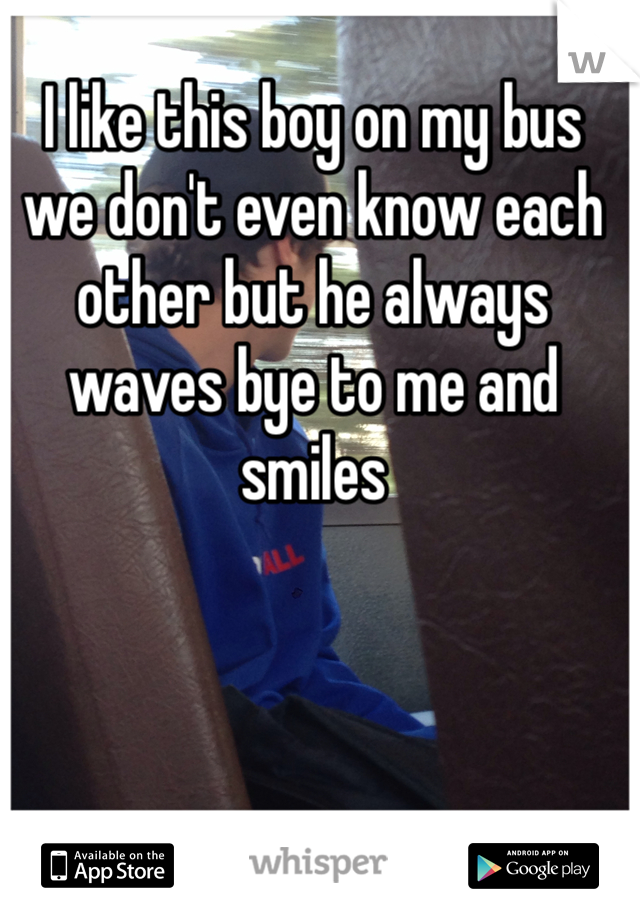 I like this boy on my bus we don't even know each other but he always waves bye to me and smiles
